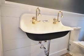bathroom elegant trough bathroom sink with two faucets nu