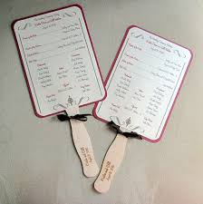 Fan Programs For Weddings Vine Swirls Dots Wedding Program Fans Ribbon Streamers Elegant