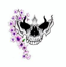 purple cherry blossom with skull tattoo design by david flanagan