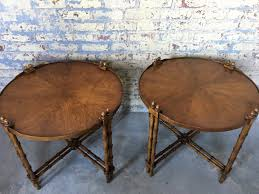 pair of vintage faux bamboo side tables brandt style bamboo