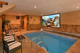 Living Room And Theatre Gatlinburg Cabins With Indoor Pools For Rent Elk Springs Resort