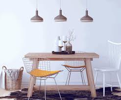 pendant light for dining table beige stained wall teak varnished