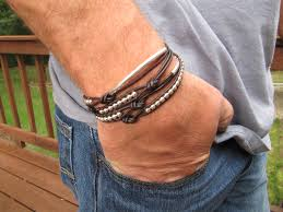 leather bracelets for men rustic men u0027s brown leather silver with tubes leather wrap