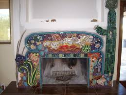 sunset mosaic fireplace surround custom designed by santa