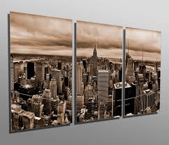 Prints For Home Decor Metal Prints New York Skyline Sepia 3 Panel Split