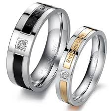 couples rings gold images Black rose gold engrave love words cz inlay couples rings evermarker jpg
