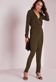 khaki jumpsuit utility plunge pocket jumpsuit khaki missguided