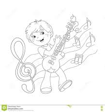 coloring page outline of cartoon boy playing guitar stock vector