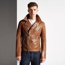brown motorcycle jacket bally biker jacket in brown for men lyst