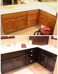 staining oak cabinets an espresso color diy tutorial espresso