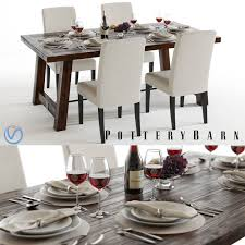 pottery barn benchwright set 3d cgtrader