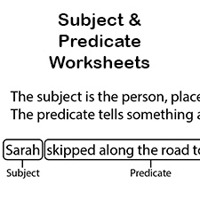 subject and predicate worksheets first grade language arts