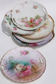 antique vintage china plates w painted roses shabby chic
