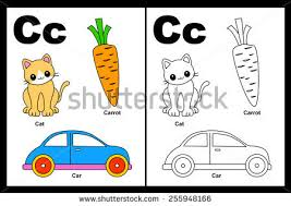 kids alphabet coloring book page outlined stock vector 255948166
