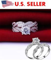 wedding rings sets for women womens cut cz white gold filled wedding ring set engagement