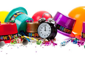 new year supplies happy new year celebration supplies on white stock photo image