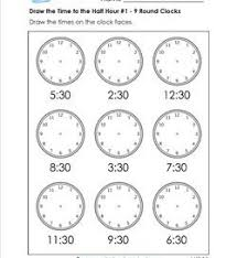 telling time half hour draw the time to the half hour telling time worksheets