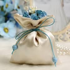 Favor Bags by Flowers Decoration Ribbon Trim Sateen Wedding Bridesmaid Favor