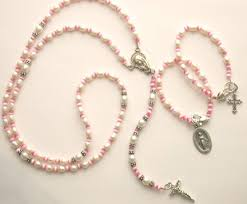 baby rosary baby pink rosary baptism communion gift
