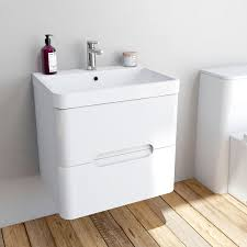 modeellis whitewall hung vanity drawer unit and basin 600mm