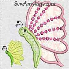 side view butterfly with dots applique machine embroidery design