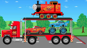 monster truck videos please disney auto transport mcqueen car and dinoco monster truck