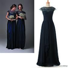 2015 chiffon junior bridesmaid dresses navy blue sheer lace cap