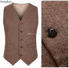 2017 new farm wedding brown wool herringbone tweed vests custom