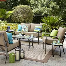 Oasis Outdoor Patio Furniture Garden Oasis Harrison 4 Piece Cushion Seating Set Tan Shop