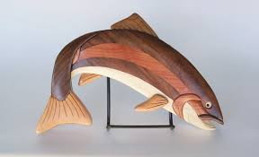 Fish Home Decor Rainbow Trout Fish Intarsia Wall Hanging Wooden Fish Carving