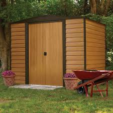 Backyard Storage Units Suncast 32 Cu Ft Storage Shed Taupe Walmart Com