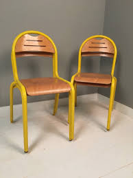children u0027s french yellow metal legged stackable chairs blue ticking