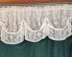 White Lace Valance Curtains 60 Inch Wide Valance Etsy