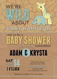 baby boy shower invitation safari baby shower jungle wild
