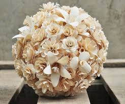wood flowers ivory white wooden bouquet for weddings and home decoration