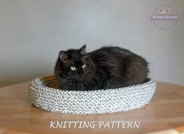 Cat Bed Pattern Cat Bed Knitting Pattern Knitted Cat Bed Tutorial Diy Cat