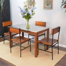 carolina cottage dining table carolina cottage carter chestnut brown stainless steel top dining