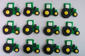 deere cake toppers green tractors fondant cupcake or cookie toppers by cookiecovers