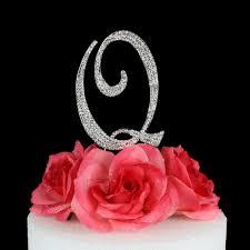 k cake topper letter q cake topper monogram 5 inch silver rhinestone
