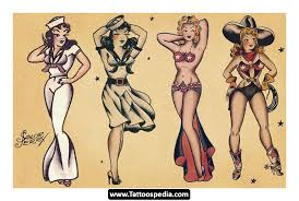 sailor jerry pin up traditional tattoo sheet in 2017 real photo