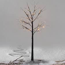 costway 6ft brown birch snow tree led light warm