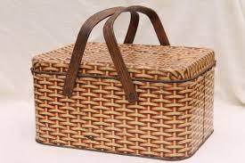 vintage picnic basket vintage tin picnic w wood handles wicker basket
