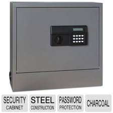 In Wall Security Cabinet Sandusky Lee Wall Mount Laptop Safe Security Cabinet Charcoal