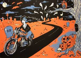 happy halloween cemetery spooky motorcycle graveyard screen