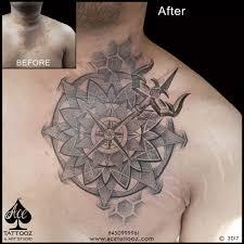 dotwork mandala scar coverup ace tattooz studio mumbai