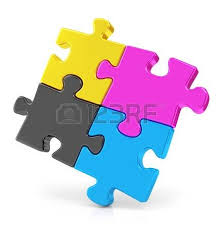 3d colorul cmyk puzzle pieces on white background stock photo