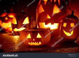 closeup of scary halloween pumpkins stock photo 109713119