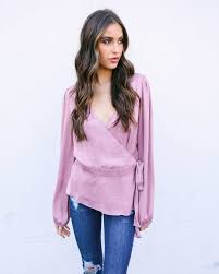 lilac blouse wrapped up satin blouse cocoa sale vici