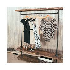 ird triple shelf industrial clothing rack rustic furniture
