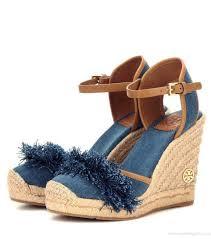 purchase tory burch shaw denim espadrille wedge sandals women blue